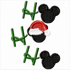 Ho Ho Ho Christmas Mister Mouse Machine Applique Embroidery Design- multiple sizes, including 4 inch