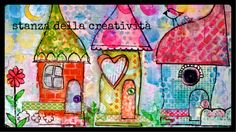 mixed media art collage: three little hauses