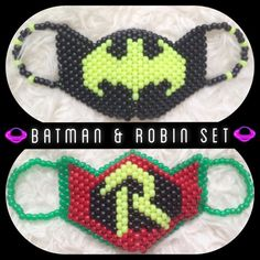 Includes: one large batman mask, one large robin mask, beads for self tie ear straps perfect for raves, shows, festivals, and even halloween!  Dont