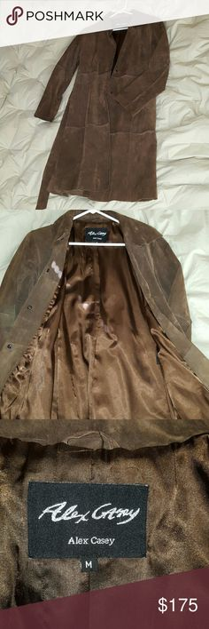 Suede leather belted fall coat Milk chocolate color size Medium snap closures slit side pockets beautiful oblong patchwork design feels and looks amazing. Alex Casey  Jackets & Coats Trench Coats