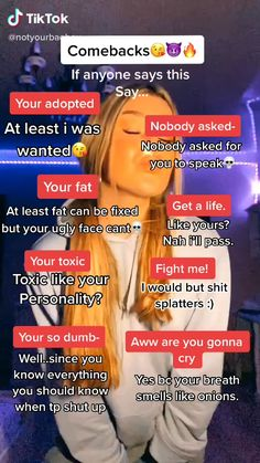 Funny Insults And Comebacks, Savage Comebacks, Clever Comebacks, Funny Laugh, Haha Funny, Really Good Comebacks, Crazy Things To Do With Friends, Life Hacks Every Girl Should Know, Teen Life Hacks