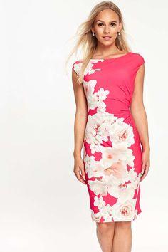 Petite Pink Floral Print Pencil Dress - Dresses - Clothing - Wallis Europe