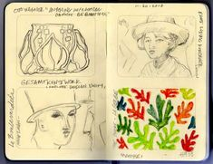 """Matisse sketchbook -   A new acquisitions was a giant ceramic wall piece designed by Matisse in the fifties. Titled La Gerbe or The Sheaf, it was one of the last pieces Matisse did. He designed it out of cut paper, and it was made into tile. (He called it """"painting with scissors"""")"""