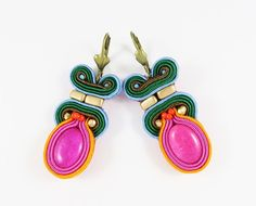 Soutache earrings with jades by AnnaZukowska on Etsy