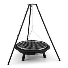 Arco Trino By Blumfeldt Swivel Grill Fire Pit BBQ Tripod Stainless Steel (70cm Grill Surface, Fire Pad with 1.5mm Sheet Steel, Robust)