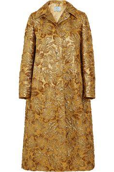 PRADA Hooded Metallic Floral-Jacquard Coat. #prada #cloth #coats