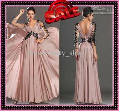 Wholesale Mother of the Bride Dresses - Buy 2014 Sexy V-Neck Mother of the Bride Dresses Sheer Black Beads Appliques 3/4 Long Sleeves Skin Pink Chiffon A-Line Long Wedding Evening Gown, $114.99 | DHgate