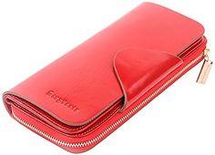 06. Borgasets Women's Organizer Wallet Leather Large Trifold Zipper Purse