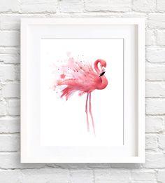 Flamingo-Kunstdruck - Wand-Dekor - Aquarell von EveryDayShenanigans auf Etsy https://www.etsy.com/de/listing/238344334/flamingo-kunstdruck-wand-dekor-aquarell