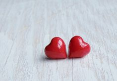 Red heart earrings tiny heart studs heart post by NestBirdDesigns