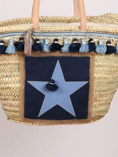 Capazo #estrella enmarcada en tonos azules con pasamanería celeste y marino a juego