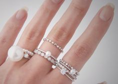 Stackable wedding bands with pearl accents - so romantic