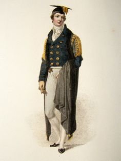 Ackermann History of Cambridge 1815 Regency Fashion Print. Fellow Commoner