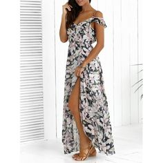 Asymmetric High Slit Floral Print Maxi Dress, COLORMIX, XL in Bohemian Dresses | DressLily.com