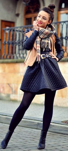 Street style quilted skirt and plaid scarf