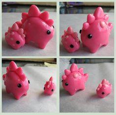 Pink polyclay dinosaur charms