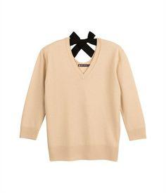 Pull femme en tricot jersey de laine et cachemire col V