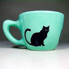 Black Cat Mug Blue Green, $22, now featured on Fab. (im in shock, i want this, even tho i dont even drink tea or coffee)