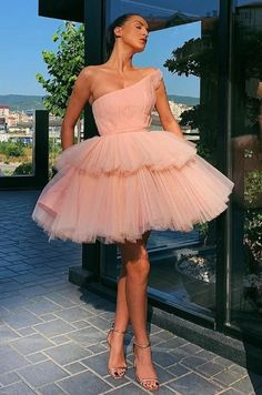 Sweety A Line One Shoulder Pink Homecoming Dresses with Ruffles Cute Dresses, Beautiful Dresses, Short Dresses, Formal Dresses, Tulle Dress, Pink Tulle Skirt, Tutu Skirts, Homecoming Dresses, Ideias Fashion