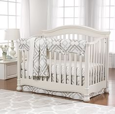 Easton Gray Taupe And Seafoam Perless Crib Bedding