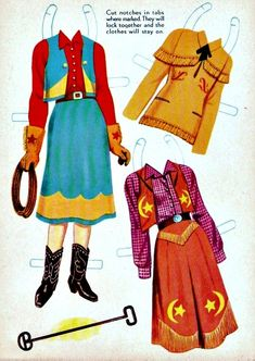Western Paper Dolls These Western Paper Dolls are from Saalfield, American Craft numbered 711 and are from 1959.  They originally sold for 29 cents.  This front cover has one of the dolls and a horse's saddle and blanket in the background.