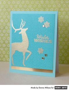 Hero Arts Cardmaking Idea: Golden Winter Wishes