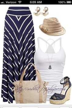 I think I could still rock this look : ) Fashion For Mom – Fashion on a Budget – Navy And White Maxi Skirt - Perfect SUMMER outfit! Summer Fashion Outfits, Spring Summer Fashion, Beach Wear For Women Outfits, Casual Summer Outfits Women, Young Mom Outfits, Beach Holiday Outfits, Casual Wear, Stylish Eve Outfits, Cruise Fashion