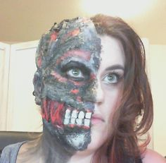 Two Face SFX Makeup Tutorial  https://www.youtube.com/watch?v=Y4wS3YuaEoo