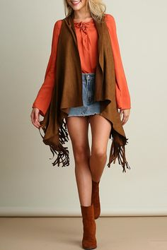 Add some western flare to your wardrobe with this trendy suede vest. Suede Fringe Vest by Umgee USA. Clothing - Jackets, Coats & Blazers - Vests Kansas