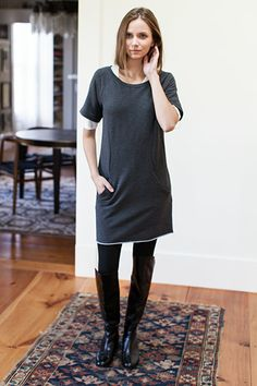 Raglan Sleeve Dress - Charcoal   Emerson Fry