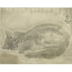 "Cat Curled Up  by Tsuguharu Foujita 14/"" Canvas Print  Repro"