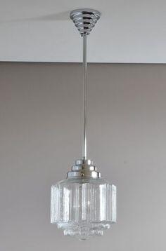 Bright Vintage Large Art Deco Hanging Ceiling Light All Original Milk Glass Shade Antiques Art Deco