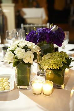 White, Purple, and Green Low Centerpieces