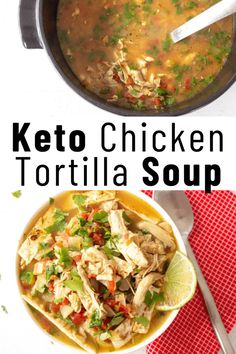 Keto Chicken Tortilla Soup is an incredible dish that will keep that entire family satisfied. Great for all occasions, delicious, and super easy to make. Plump chicken simmered perfectly with fresh cilantro, garlic, onions, tomatoes, and more. Low Carb Soup Recipes, Chowder Recipes, Keto Recipes, Healthy Recipes, Healthy Soup, Chicken Tortilla Soup, Keto Chicken, Chicken Soup, Joy Filled Eats