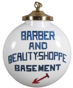 Barber and Beauty Shop Milk Glass Globe