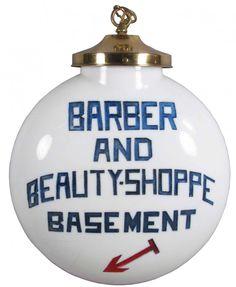 Classic Barber and Beauty Shop Milk Glass Globe.