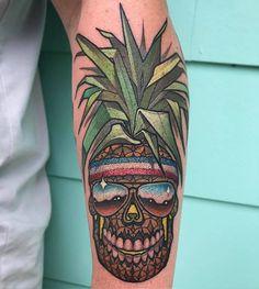 Pineapple Skull tattoo by @mattsteblytattoos at Twisted Anchor Tattoos in Ocean Springs Mississippi #mattsteblytattoos #mattstebly #twistedanchortattoo #twistedanchortattoogallery #oceansprings #mississippi #pineappletattoo #pineapple #pineappleskull #pineappleskulltattoo #tattoo #tattoos #tattoosnob