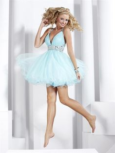 Light Blue Prom Dress Short Beaded Tulle Straps V-neck    200shop.com