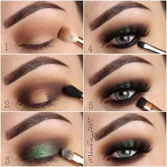 Brown and Green Step by Step Makeup Tutorial
