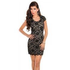 64d8f7f29813 Čipkované šaty s krátkym rukávom Lace dress short sleeve Black Beige