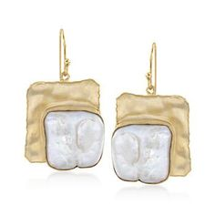 Baroque Pearl Hammered Drop Earrings in 14kt Gold Over Sterling