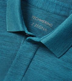 ZZEGNA POLOS AND T-SHIRTS: This polo features hidden buttons and uses Techmerino wool for superior temperature regulation and breathabilty Teal blue polo in T Polo Shirt Design, T Shirt Polo, Mens Polo T Shirts, Golf Shirts, Polo Shirt Style, Men's Polo, Tees, Slim Fit Casual Shirts, Casual Wear For Men