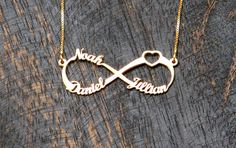 3 Names Gold Infinity Necklace Gold plated by WEdesignJewelry, $70.00