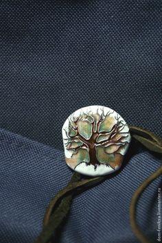 """Кулон """"Дерево"""" - дерево жизни,эмаль,эльфийское дерево,кулон на шнуре,медь"""