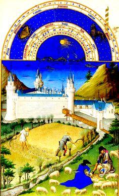 42. Les très riches heures. Juillet.. Zodiaque (Lion). Les deux activités habituelles sont représentées : la moisson et la tonte des moutons. Le château est celui de Poitiers.