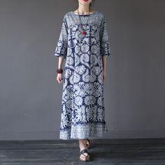 Chinese style Vintage print Women Long Dress O-neck Loose Casual Summer Dress Brand Design Linen Dresses Robe Longue Femme A064