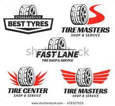Set of Tyre Shop Logo Design. Wheel repair service. Tire storage company logo.