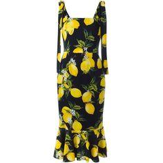 Dolce & Gabbana lemon print dress (17.796.175 IDR) ❤ liked on Polyvore featuring dresses, black, square neckline dress, no sleeve dress, lemon print dress, square neck dress and sleeveless dress