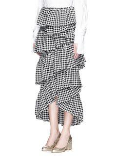 ISA ARFEN - 'Full-On' ruffle gingham check muslin skirt - on SALE