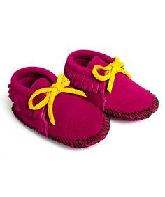 Love this Fuchsia Suede Moccasin Booties by Mili Designs NYC on #zulily! #zulilyfinds